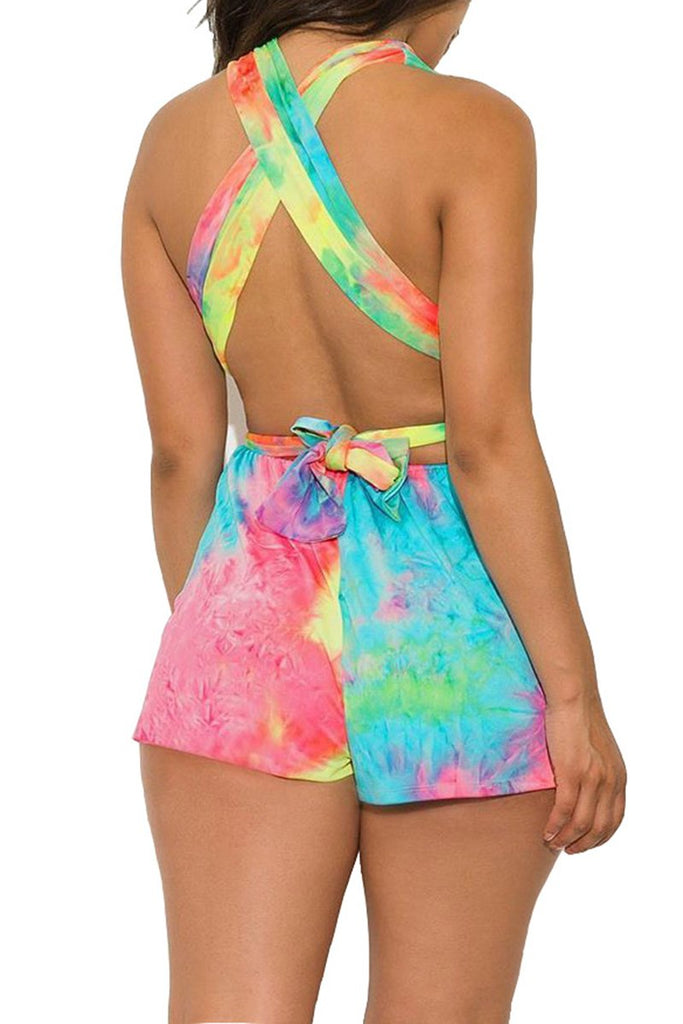Gradient Color Criss Cross Romper