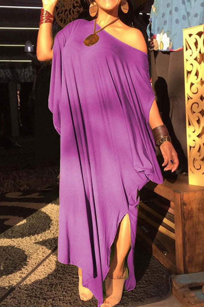 Side Slit Off One Shoulder Maxi Dress