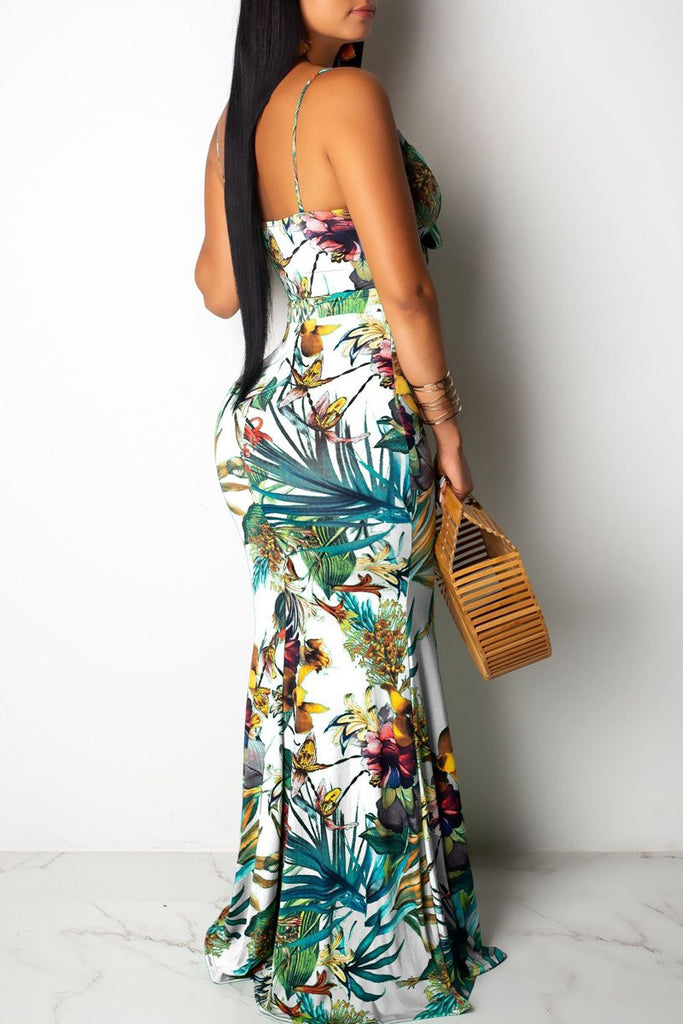 Spaghetti Straps V-neck Print Tie Up Maxi Dress