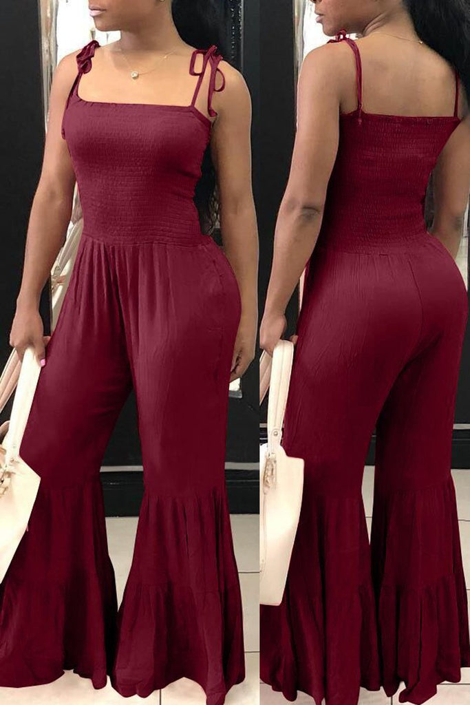 Spaghetti Straps Flared Open Back Jumpsuit
