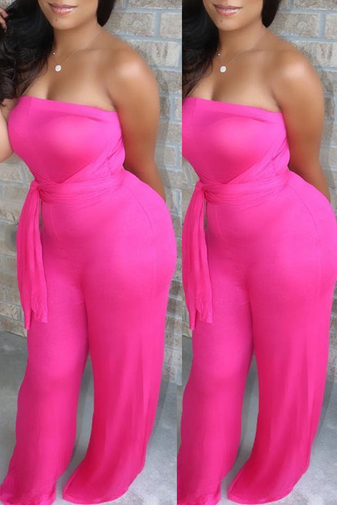 Halter Neck Open Back Solid Jumpsuit