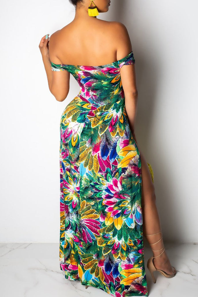 Off The Shoulder Print High Slit Party Maxi Dress
