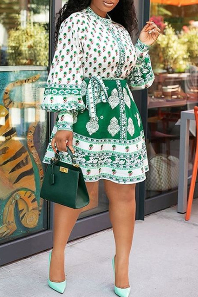Bowknot Print Lantern Sleeve Mini Dress
