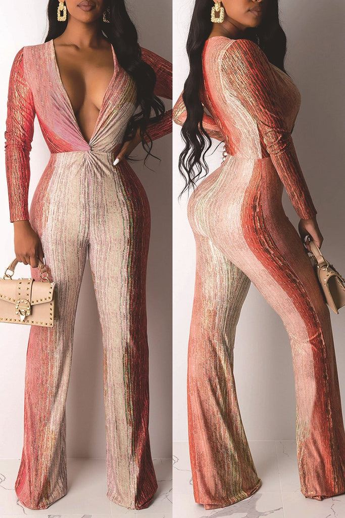 Gradient Color Deep V-Neck Jumpsuit
