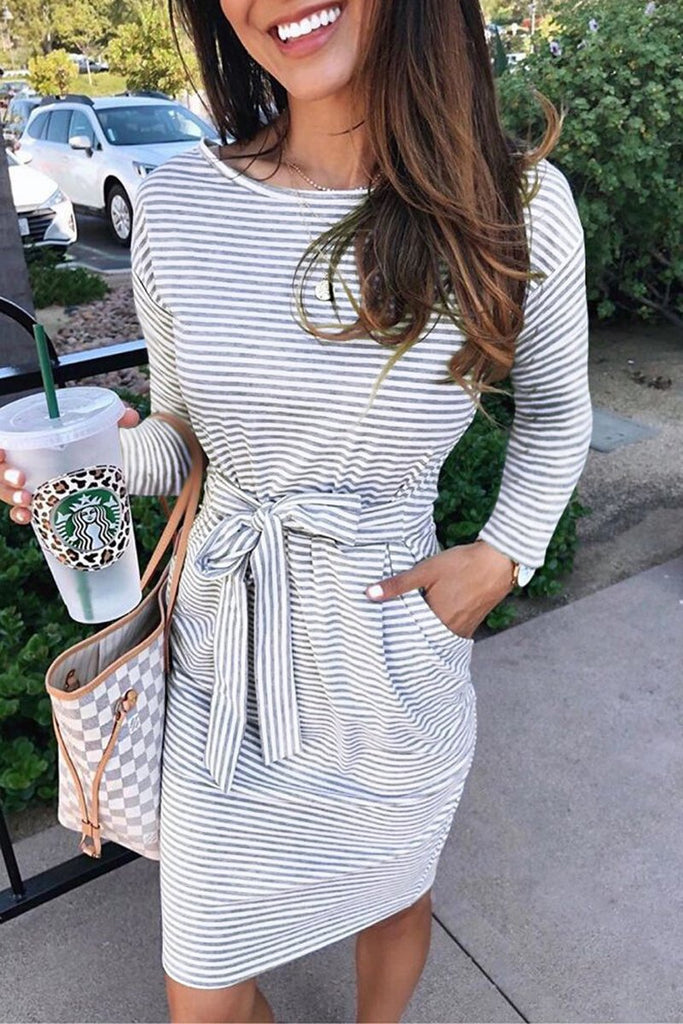 Stripe Print Lace Up Long Sleeve Midi Dress