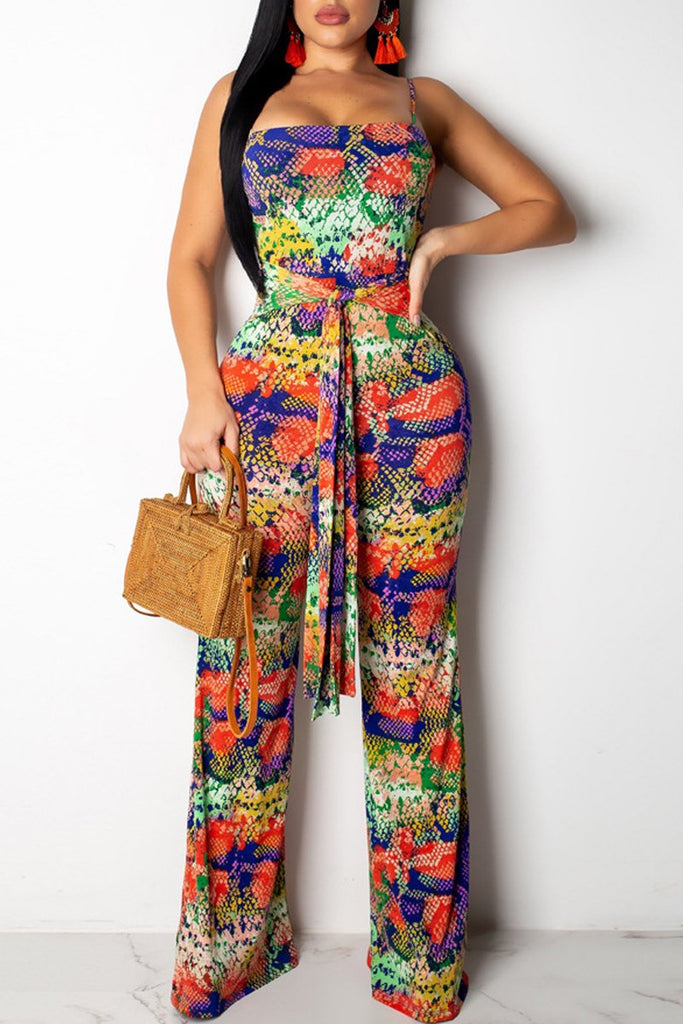 Snake Print Tie Up Open Back Jumpsuit