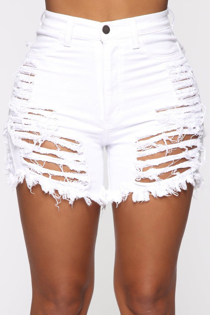 Slash Distressed Solid Color Denim Shorts