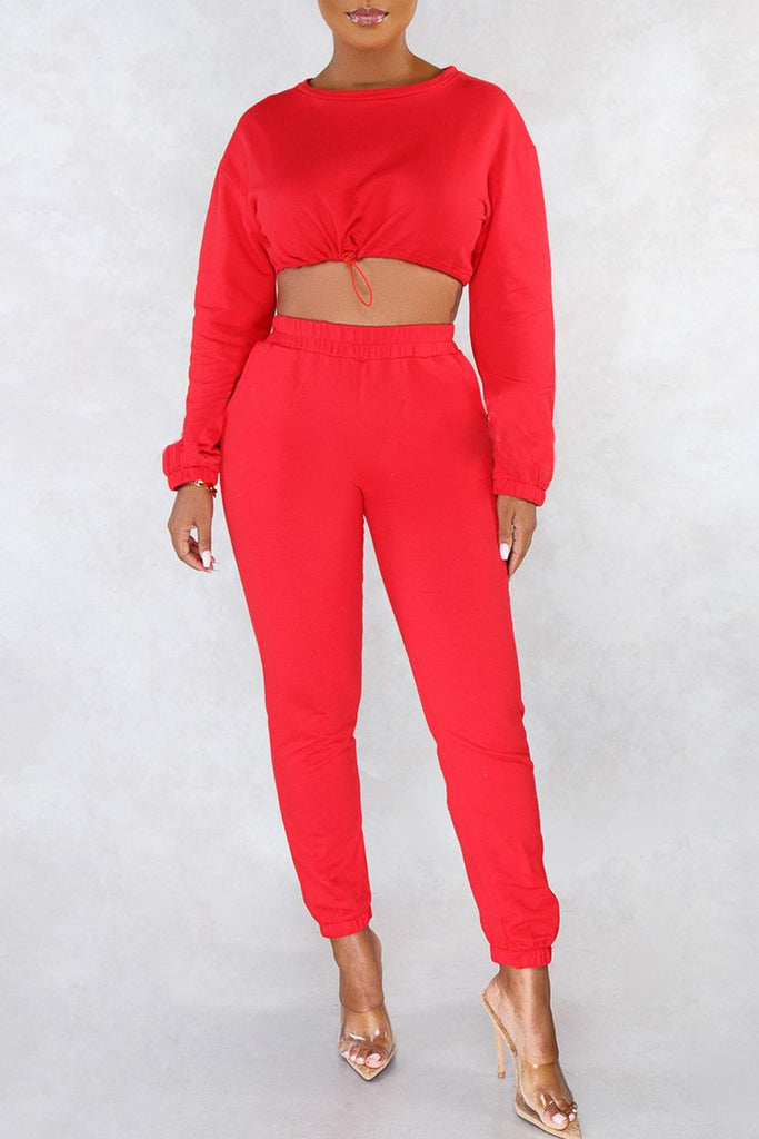 Solid Color Tie Up High Waist Two Piece Sets