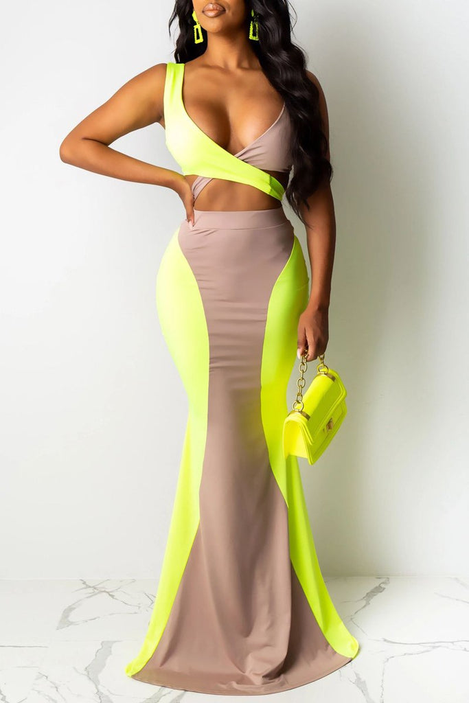 Color Block V-neck Open Back Two Piece Maxi Dress