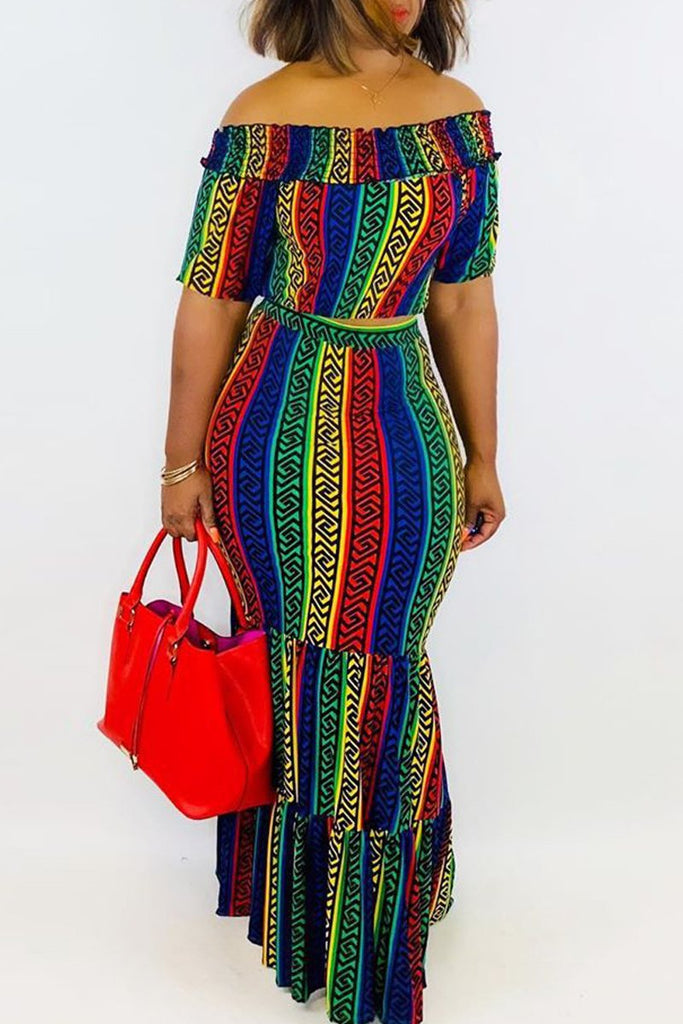 Off The Shoulder Print Two Piece Maxi Dress