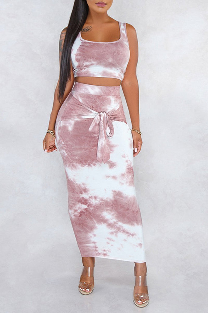 Tie Up Tie Dye Top & Midi Skirt