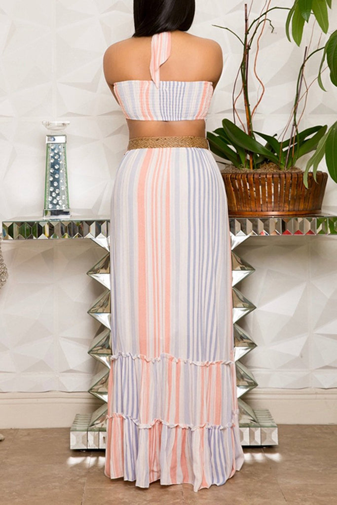 Back Pierced Striped Ruffled Maxi Dress