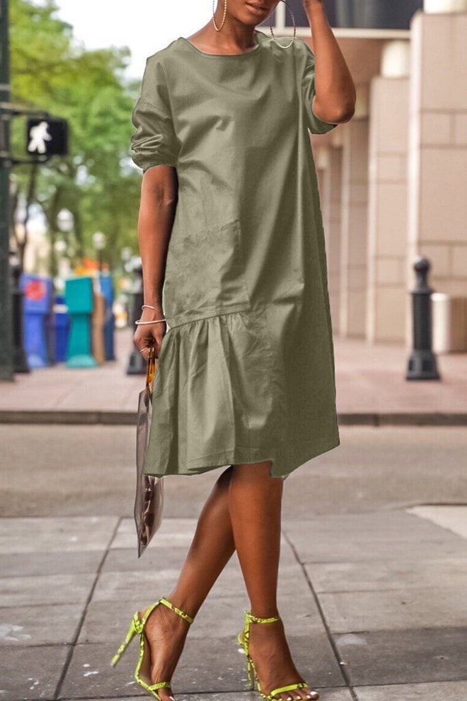 Solid Asymmetric Hem Short Sleeve Midi Dress