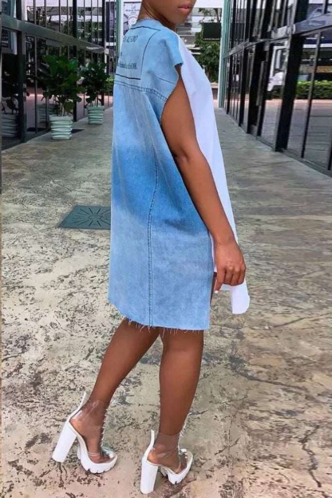 Lip Print Denim Patchwork Slit Hem Midi Dress
