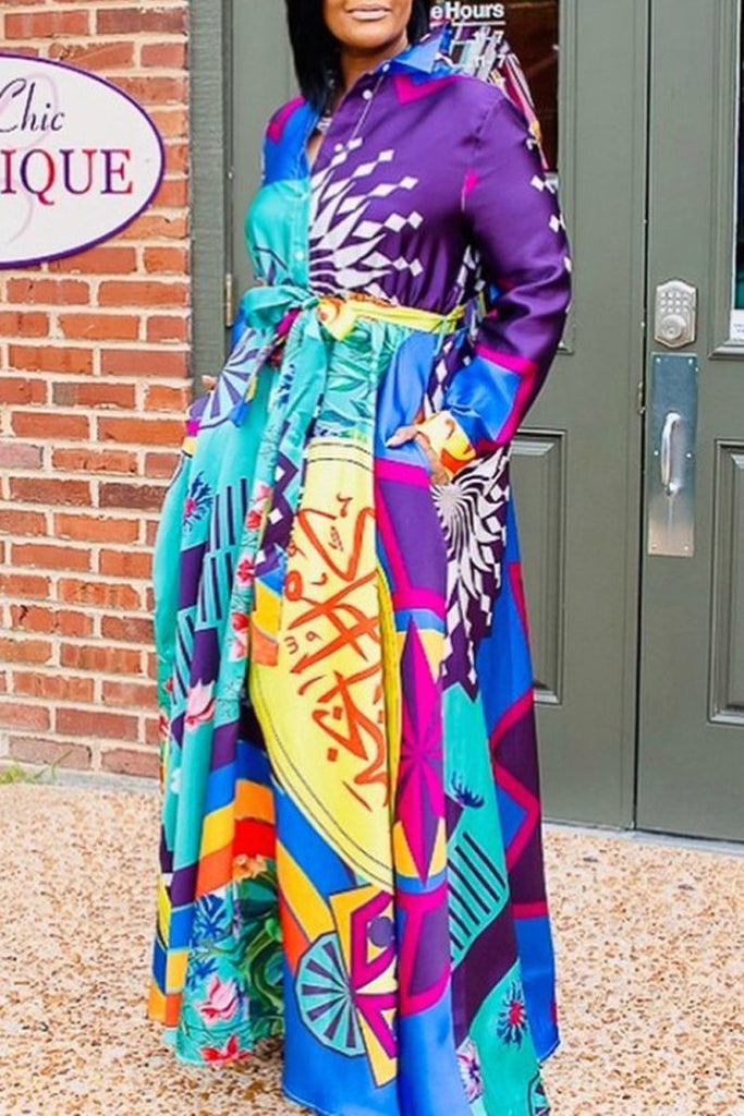Plus Size Graffiti Print Turndown Collar Maxi Dress