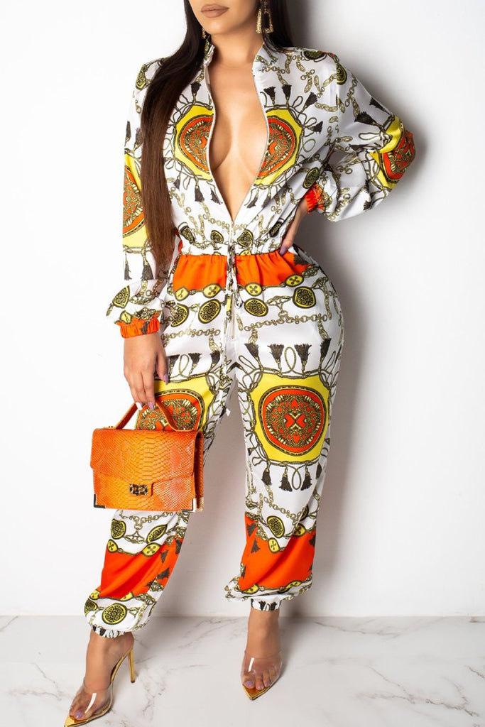 Placement Print Long Sleeve Zipper Jumpsuit