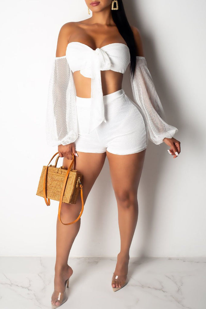 See-through Off The Shoulder Knot Front Top & Shorts