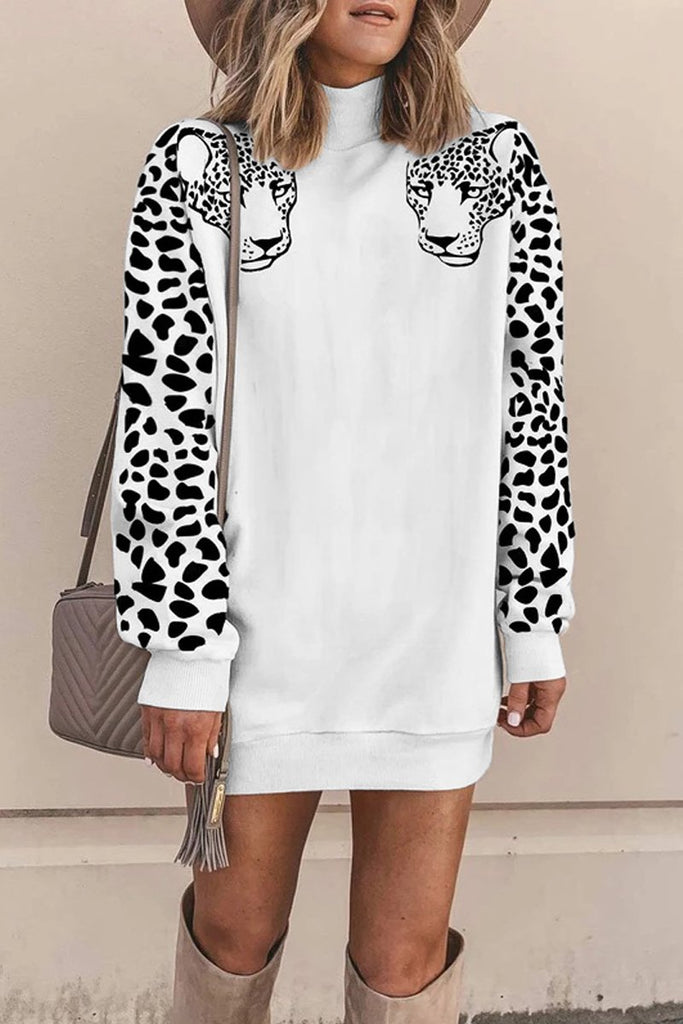 High Neck Leopard Print Sweatshirt