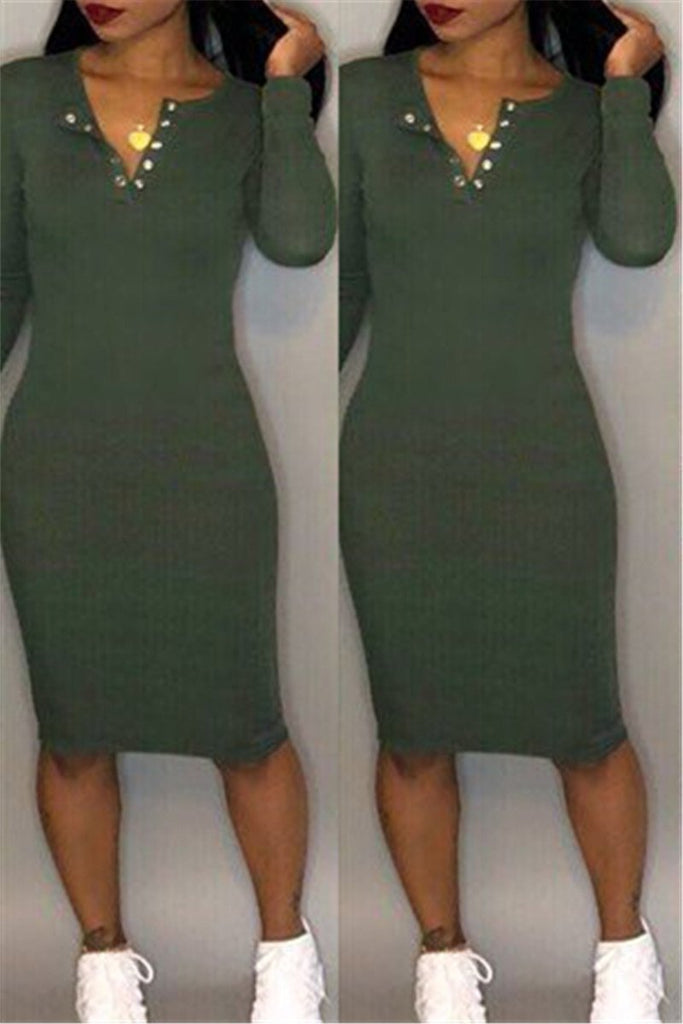 Split Neck Long Sleeve Solid Color Bodycon Dress