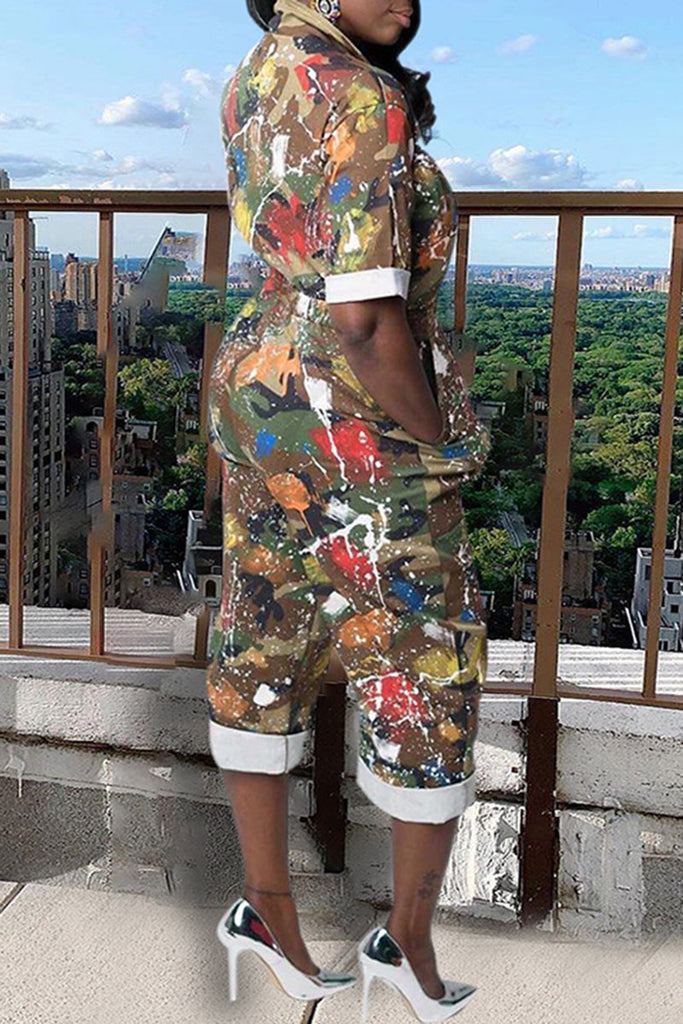 Pocket Colorful Camouflage Print Jumpsuit