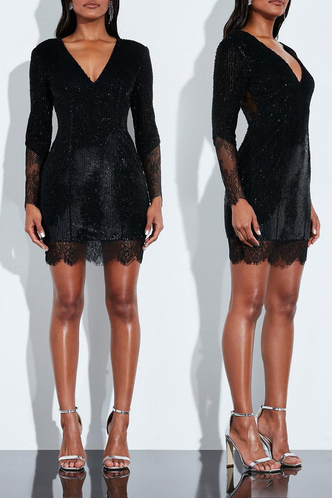 Lace Patchwork Sequin V-neck Mini Dress
