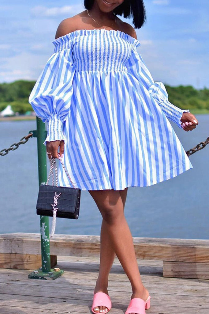 Off The Shoulder Lantern Sleeve Ruffle Mini Dress