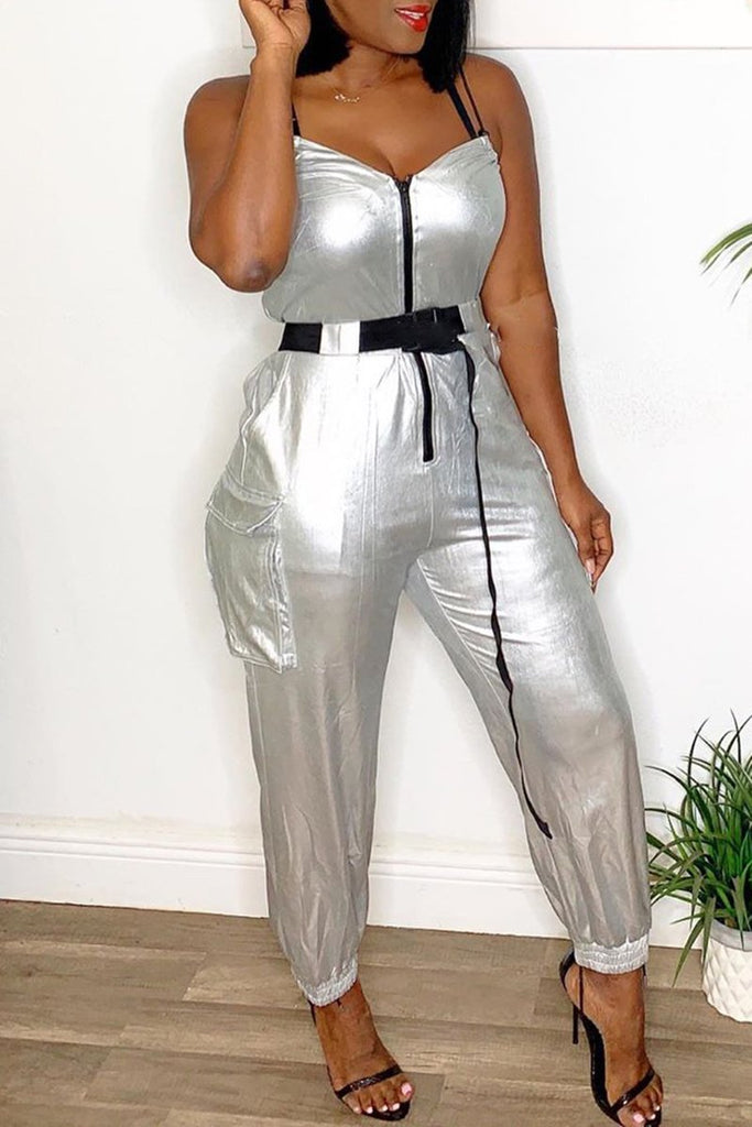 Solid Color Zipper Up Jumpsuit With Belt