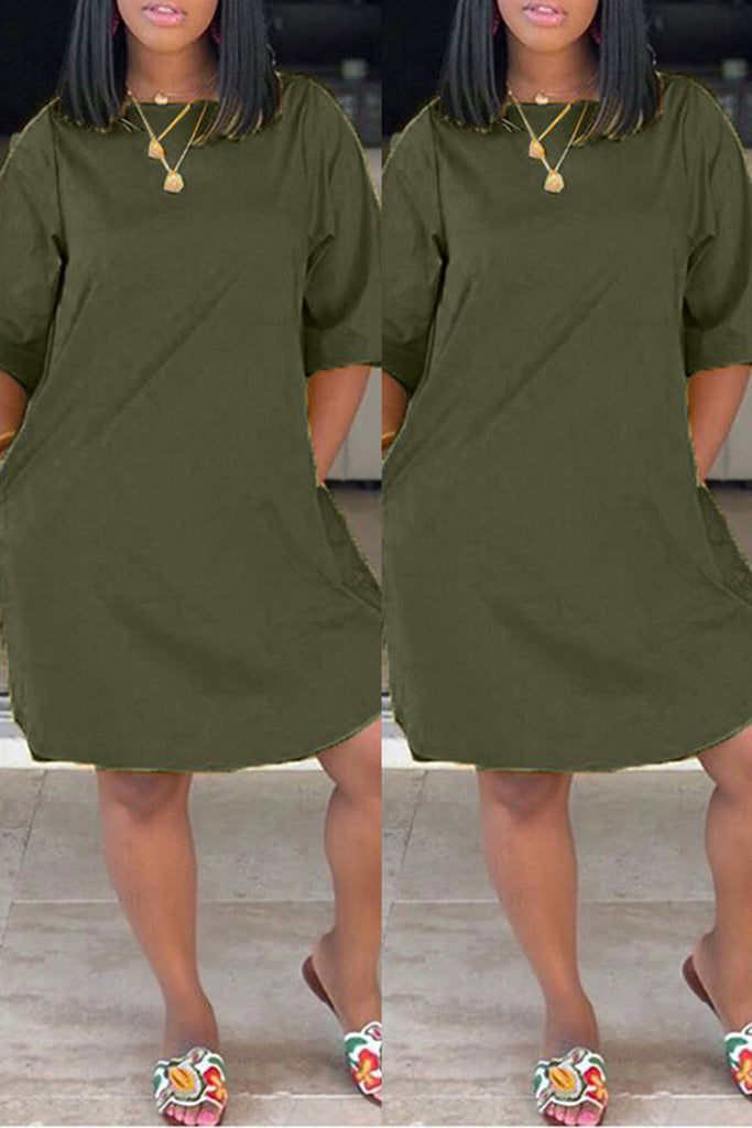 Pocket Plus Size Solid Color Mini Dress