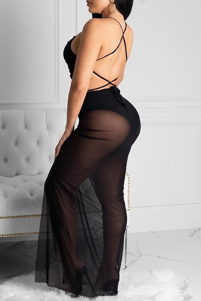 Spaghetti Straps Open Back High Slit Maxi Dress