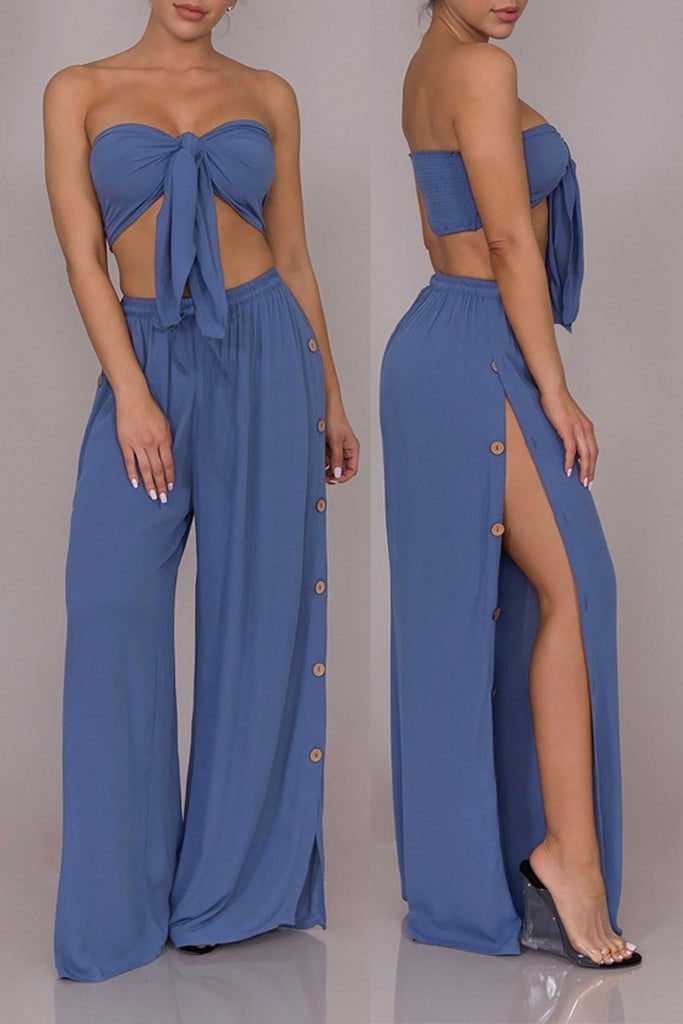 Solid Knot Front Strapless Open Back Two Piece Sets