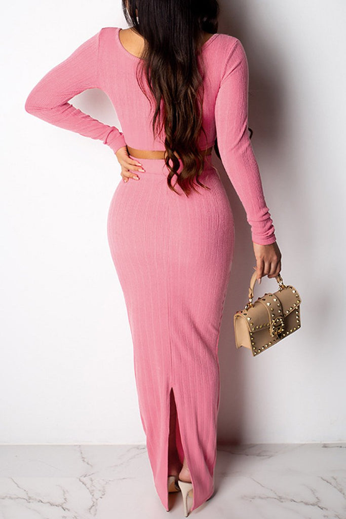 Solid Split Neck Long Sleeve Two Piece Maxi Dress