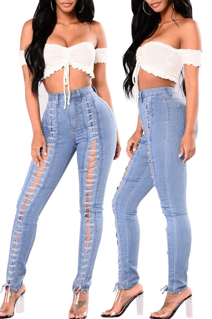 Denim Eyelet Detail Lace Up High Waist Jeans