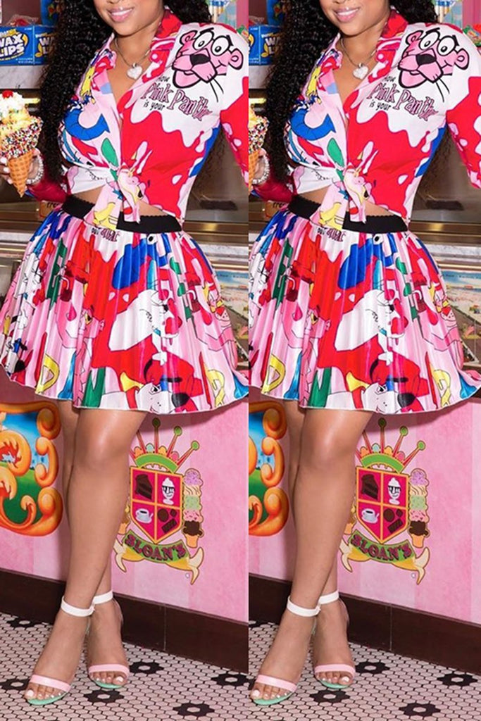 Knotted Cartoon Print Two Piece Dress
