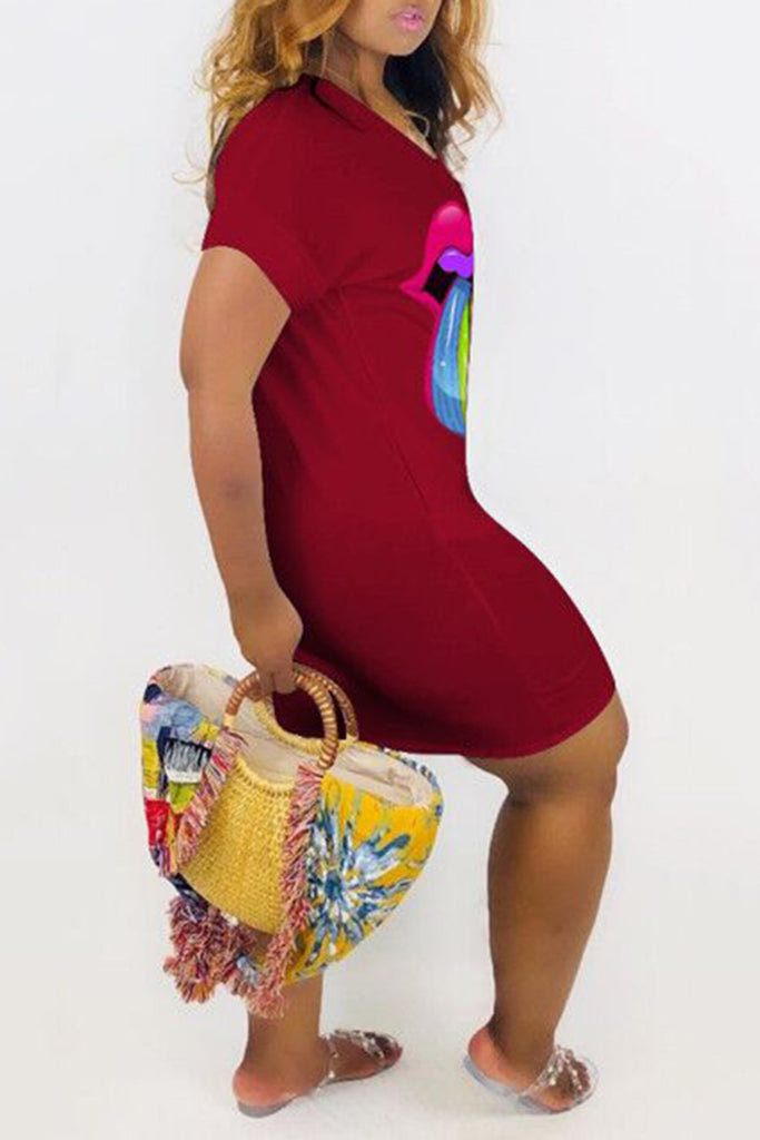 Colorful Lip Plus Size Mini Dress