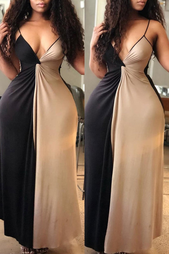 Color Splicing Knotted Maxi Dress