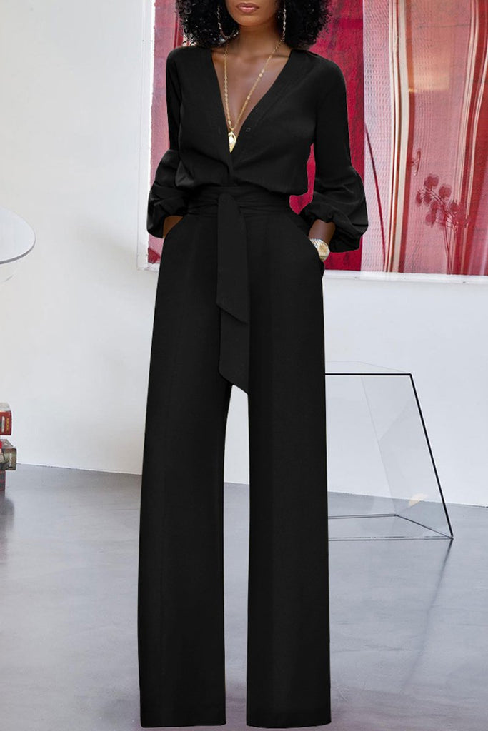 Deep V Neck Belted Solid Color Jumpsuit