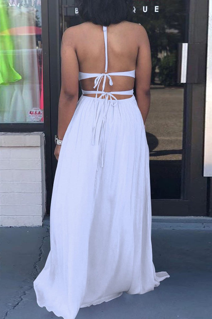 Slit Hem Open Back Hollow Out V-neck Maxi Dress