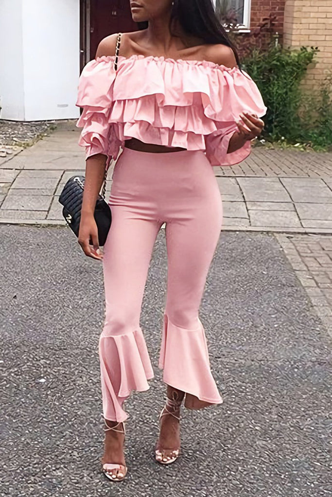 Ruffled Off The Shoulder Two Piece Sets