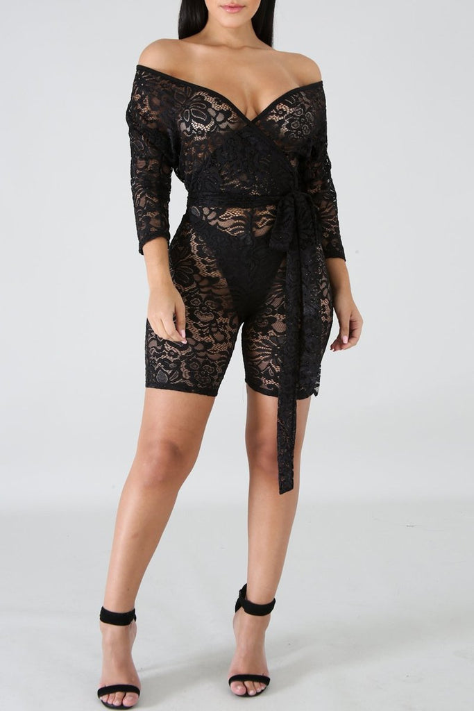 Off The Shoulder See-through Lace Belted Romper