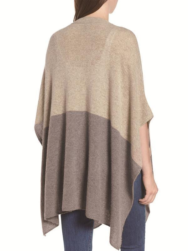 Casual Color Block V-neck Poncho And Cape Knitted Sweater