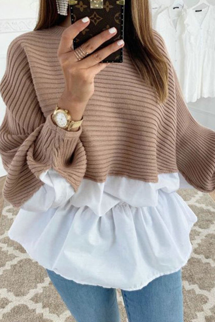 Knitted Splicing Solid Color Ruffled Top