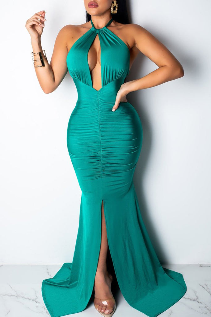 Halter Neck Slit Hem Solid Open Back Party Maxi Dress