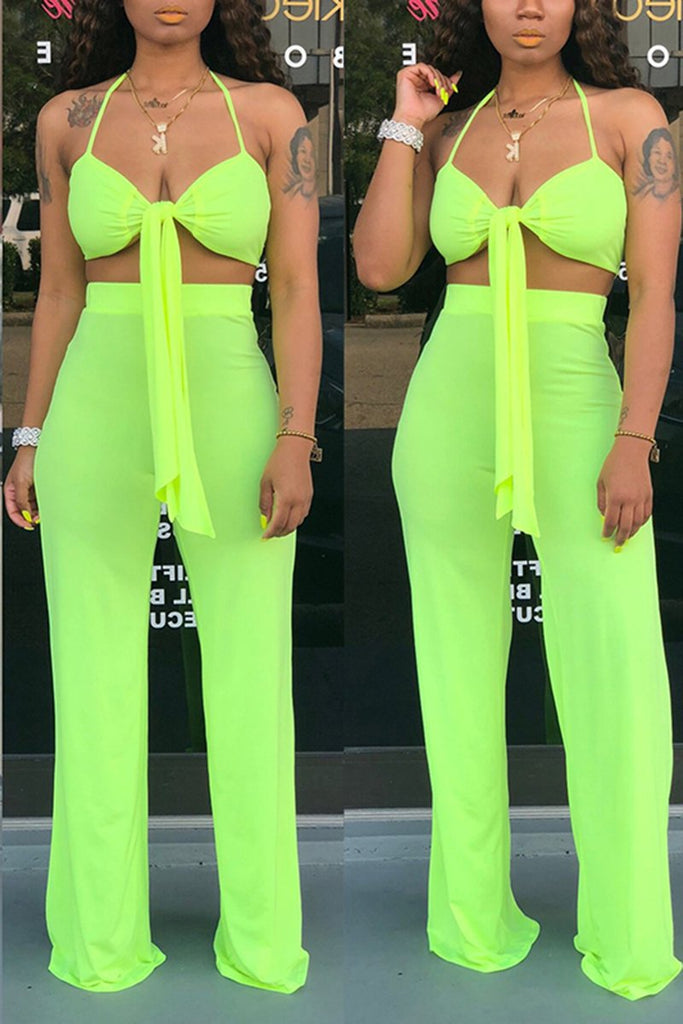 Solid Color Bowknot Sleeveless Two Piece Sets