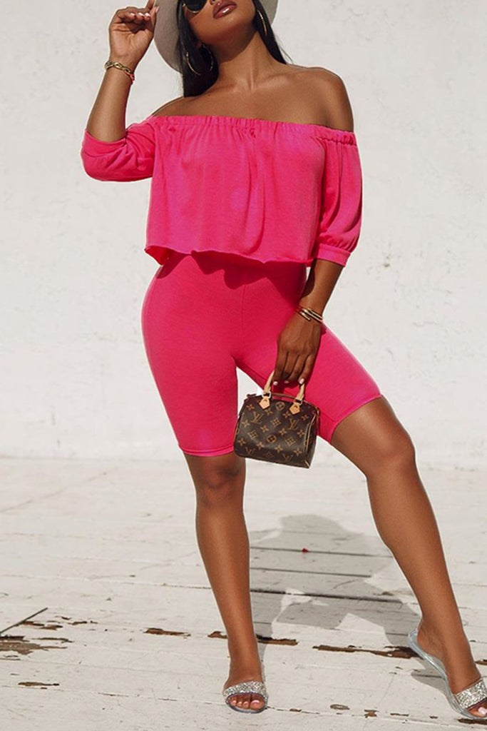 Ruffled Plus Size Off The Shoulder Top & Shorts