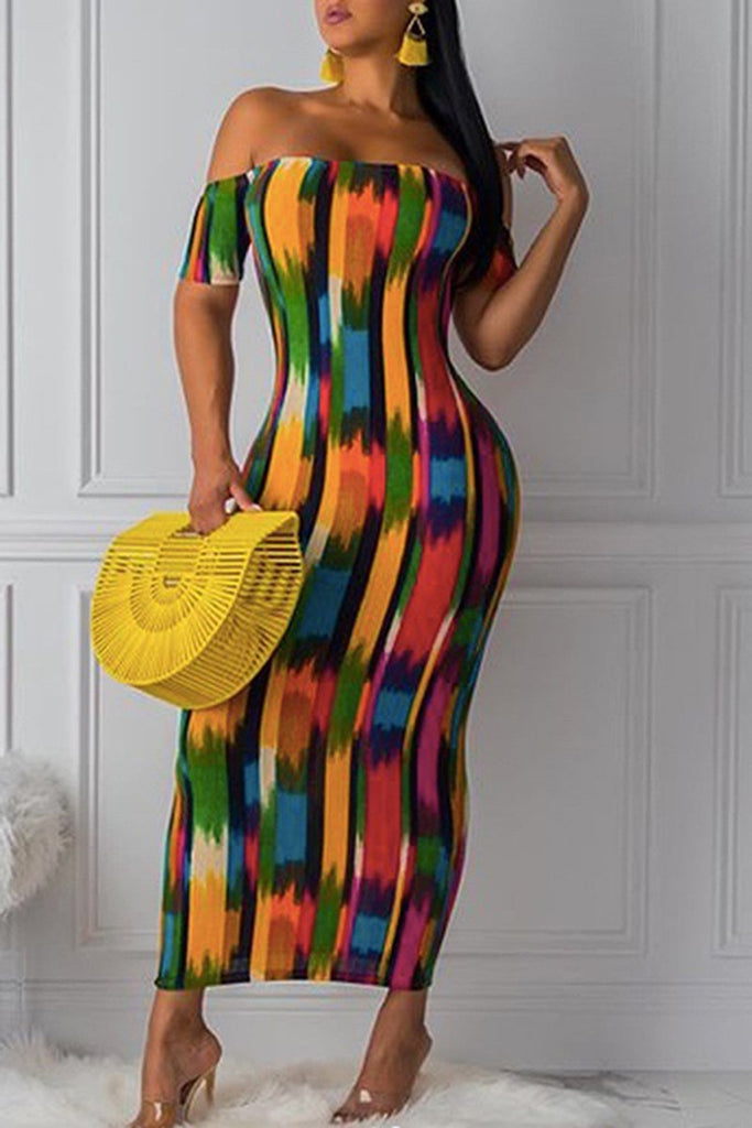 Off The Shoulder Patchwork Maxi Dress