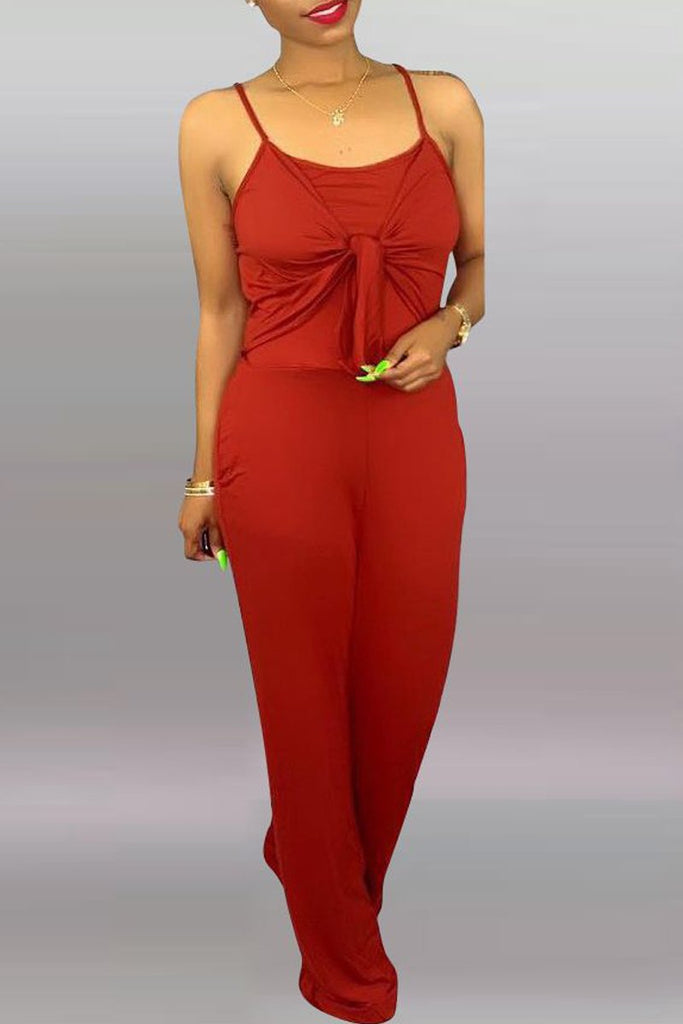 Solid Color Tie Up Open Back Sleeveless Jumpsuit