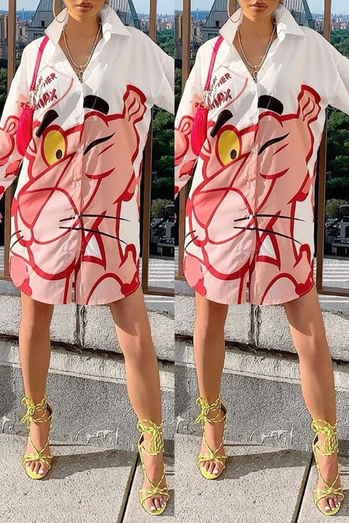 Cartoon Print Butoon Shirt Dress