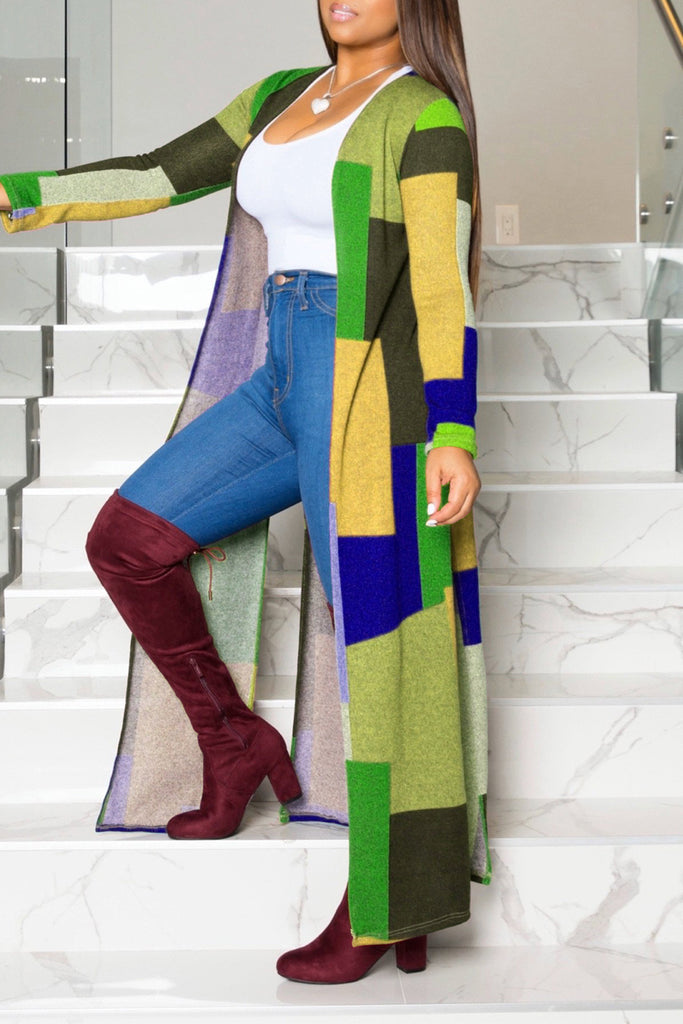 Plus Size Color Block Slit Hem Long Sleeve Cardigan