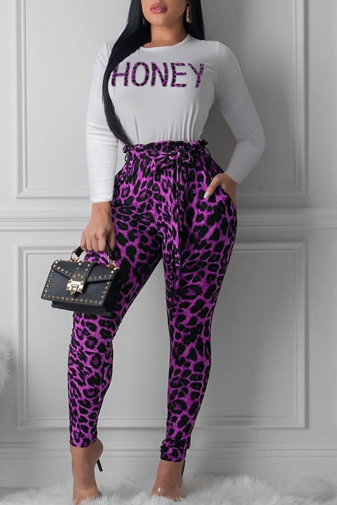 Leopard Print Long Sleeve Belted Top & Pants