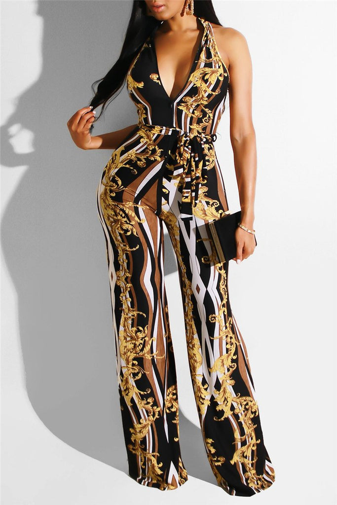 V Neck Sleeveless Printed Jumpsuit